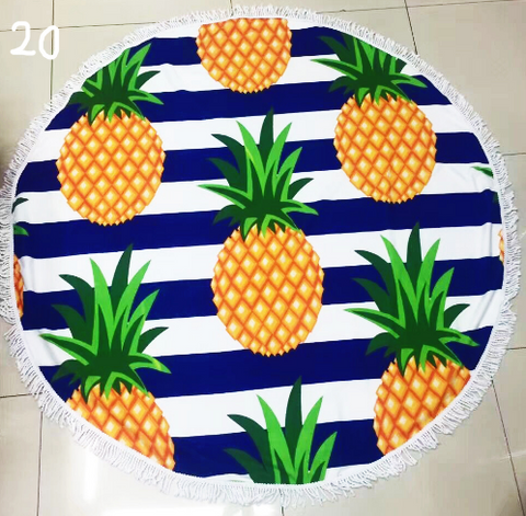 Printed Pineapples Sunbathe Round Beach Towel - Hautify