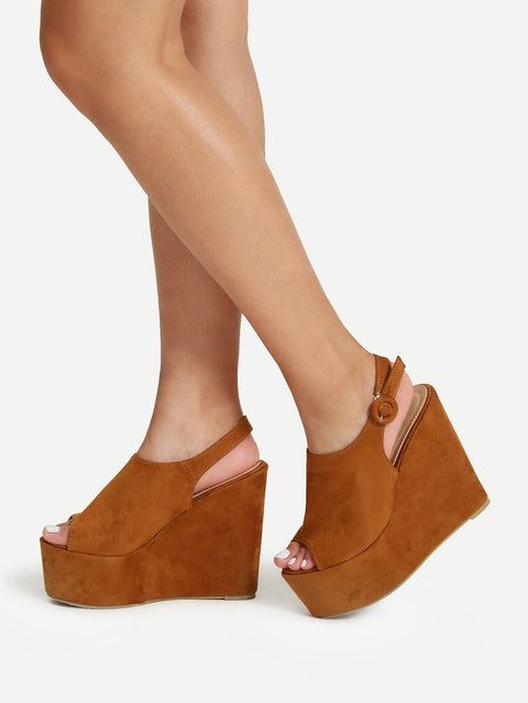 Open Toe Heeled Platform Wedges - Hautify