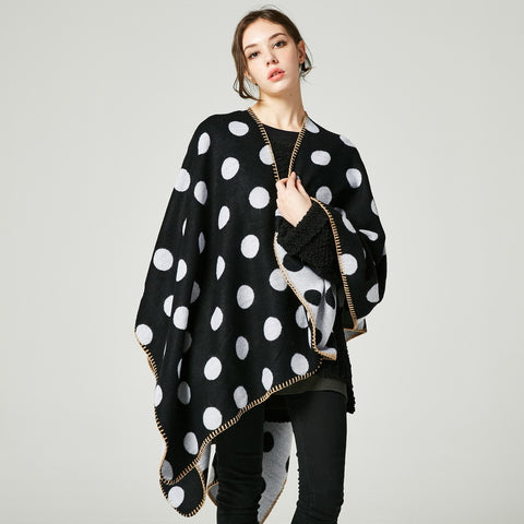 Polka Dot Print Thick Cape Blanket - Hautify