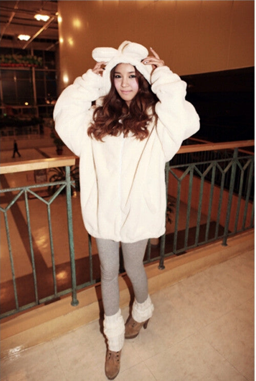 Hot Sale Women Hoodies Zipper Girl  Winter Loose Fluffy Bear Ear Hoodie Hooded Jacket Warm Outerwear Coat cute sweatshirt H1301 - Hautify