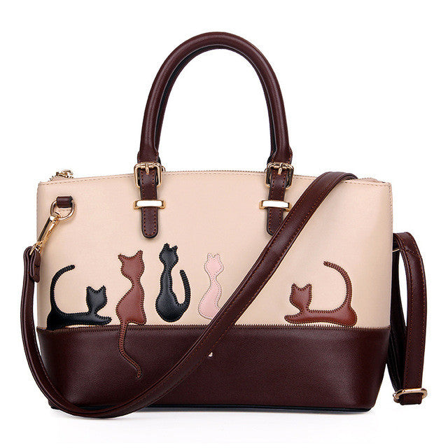 Cats Engraved Wide Shoulder Bag for Women
