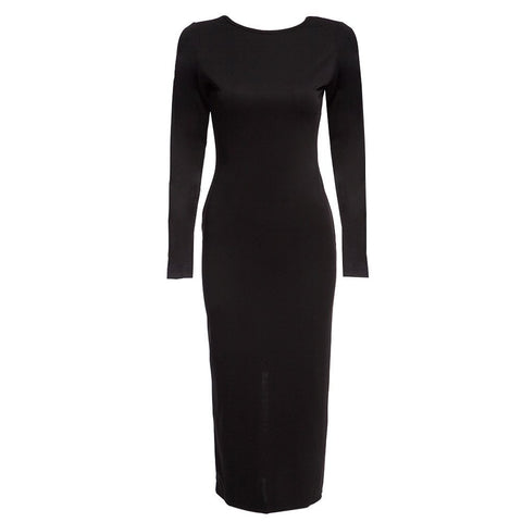 Back Zipper Women's Bodycon Midi Dress Solid
