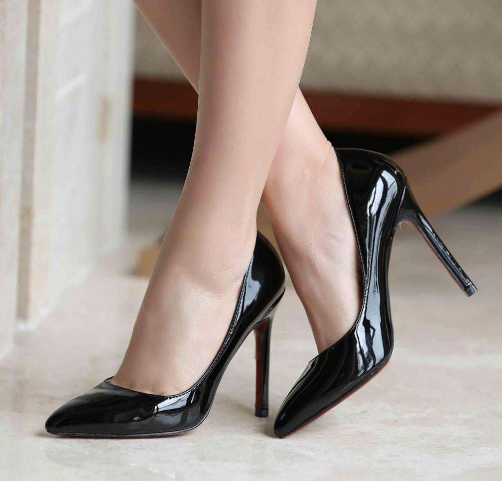 Latex Top Pointed Toe Sexy Pumps