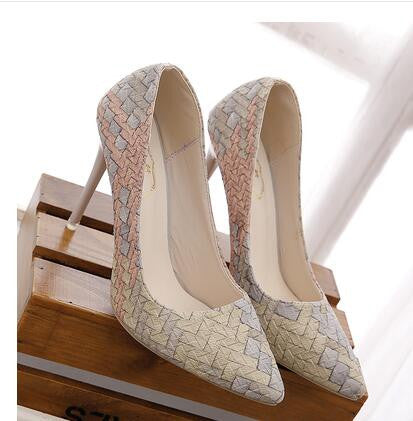 Pleated Retro Plaid Pointed Heels for Women