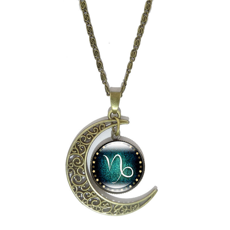Crescent Moon Chain Pendant  Necklace