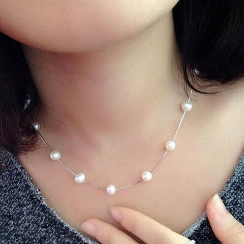 Faux Freshwater Pearl Chain Necklace - Hautify