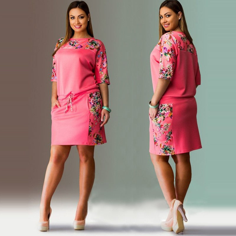 Spring Dress Big Size Printed  Plus Size Women Clothing - Hautify