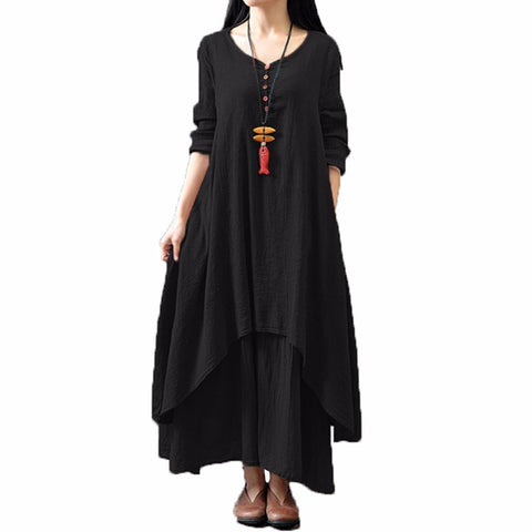 Women Casual Loose Long Sleeve Maxi Dress Cotton