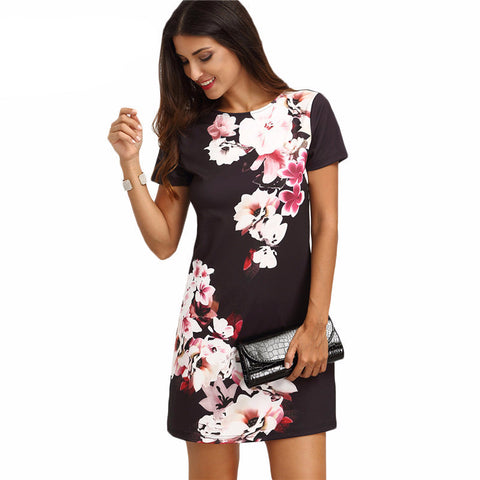 Women Ladies Multicolor Floral Short Sleeve Round Neck Straight Dress