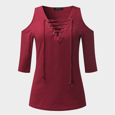 Cold Shoulder Lace Up Womens Casual Top Plus Size - Hautify