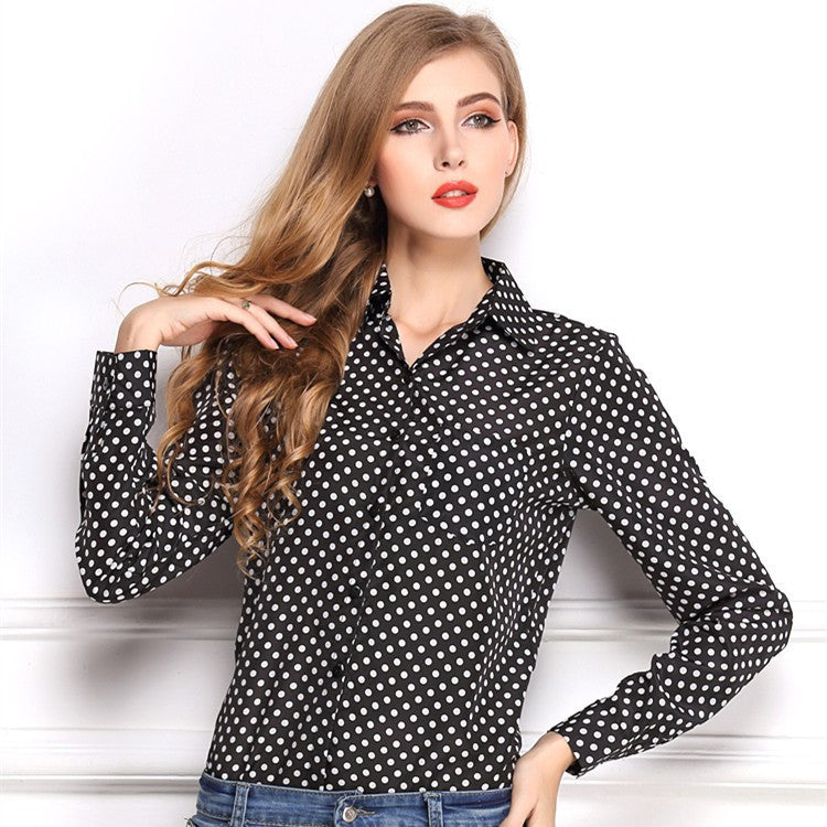 Polka Dot  Print  Button Down Womens Blouses Chiffon