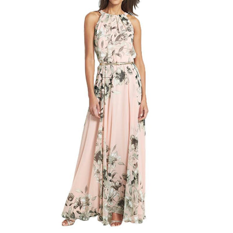 Summer Dress Pink With Belt Sexy Women Chiffon Dress Floral Print O Neck Sleeveless Party Beach Long Boho Dress Female
