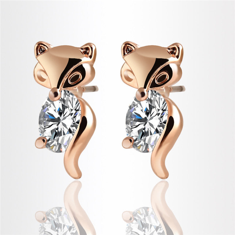 Stunning  Lovely Little Fox Stud Earrings 18K Austrian Plated