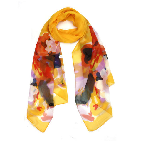 Spring Blossom Floral Print Oblong Scarves for Women
