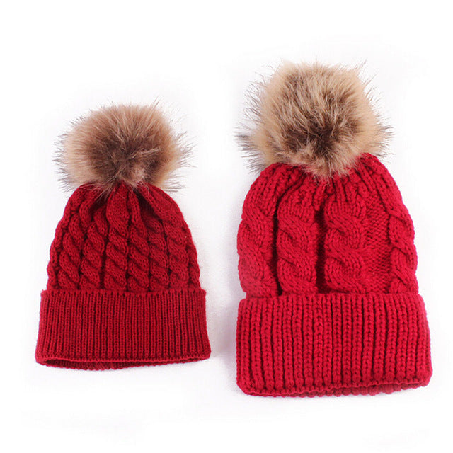 Mom and Baby Matching Pom Beanie Set
