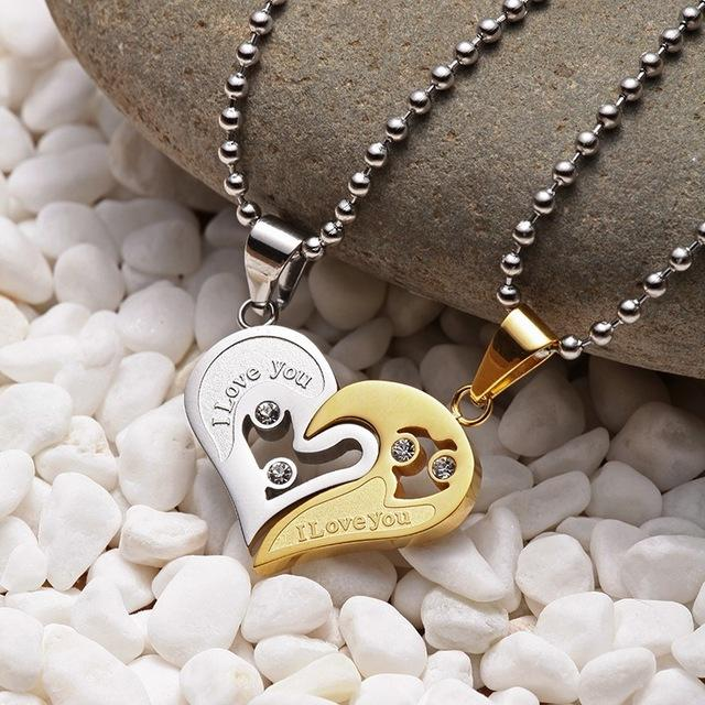 """I Love You"" Heart Paired Pendant Necklace - Hautify"