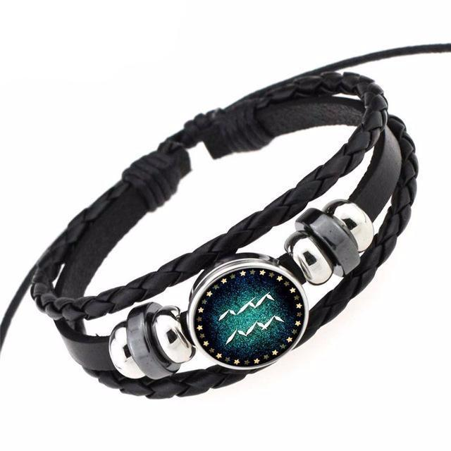 12 Constellation Signs  Leather Wrap Bracelets