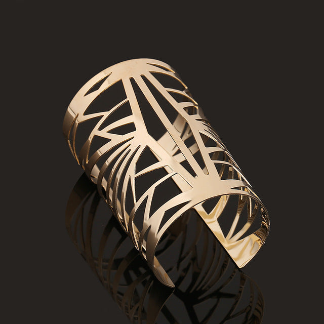 Geometric Metal Punk Gold Tone Bracelets - Hautify