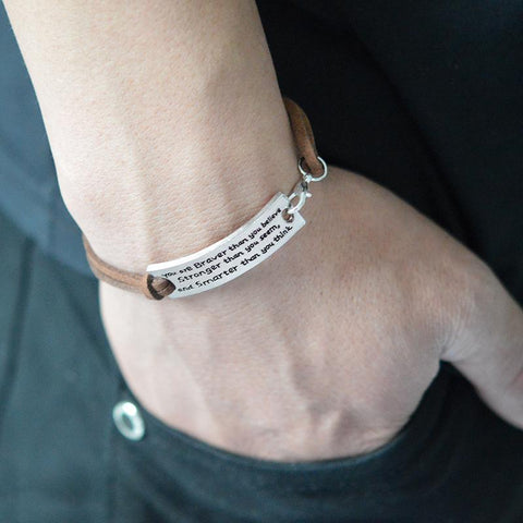 """You Are Braver Than You Believe.""Inspirational Cord Bracelet - Hautify"