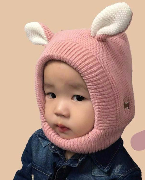 Cute Bunny Rabbit Ears Bonnet Knit Winter Cap for Baby - Hautify