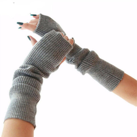 Ribbed Knit Long FIngerless Arm Mittens - Hautify
