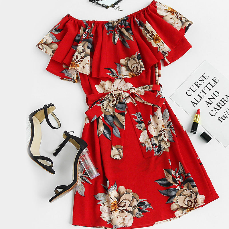 Off Shoulder Belted Floral Print Dress