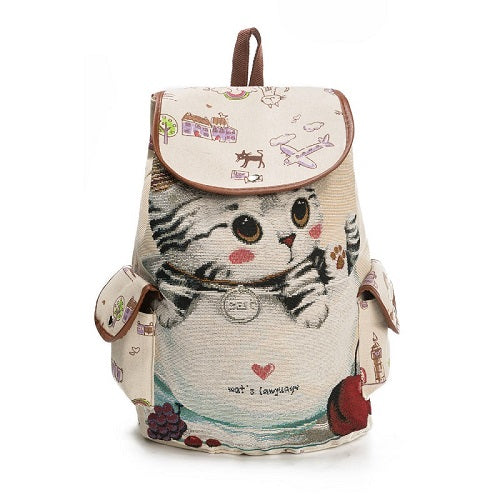 Little Kitten Printed  Canvas Backpack - Hautify