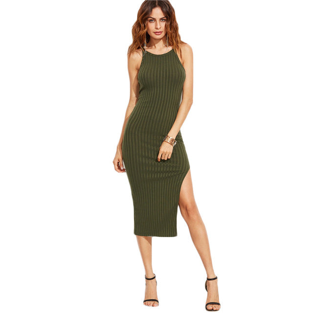 High Slit Ribbed Thin Strap Knit Bodycon Dress for Women