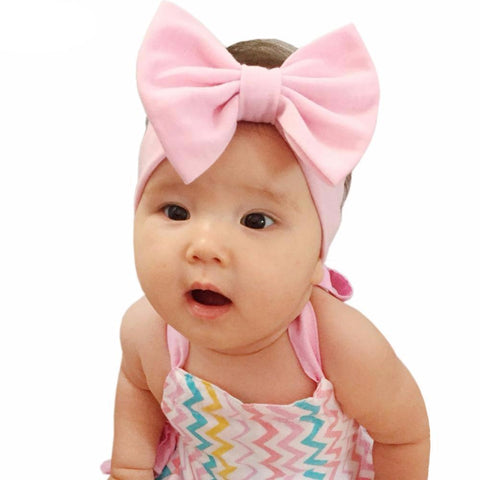 "5"" Big Bow Baby Girl Headbands Accessories  Solid Head Wrap Elastic Set of 3 One Size - Hautify"