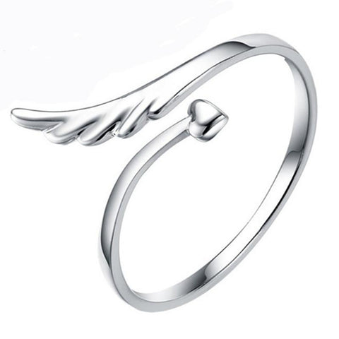 Adjustable Angel Wing Heart Ring - Hautify