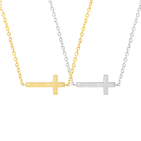 Cross Bar Stainless Steel Pendant Necklace - Hautify