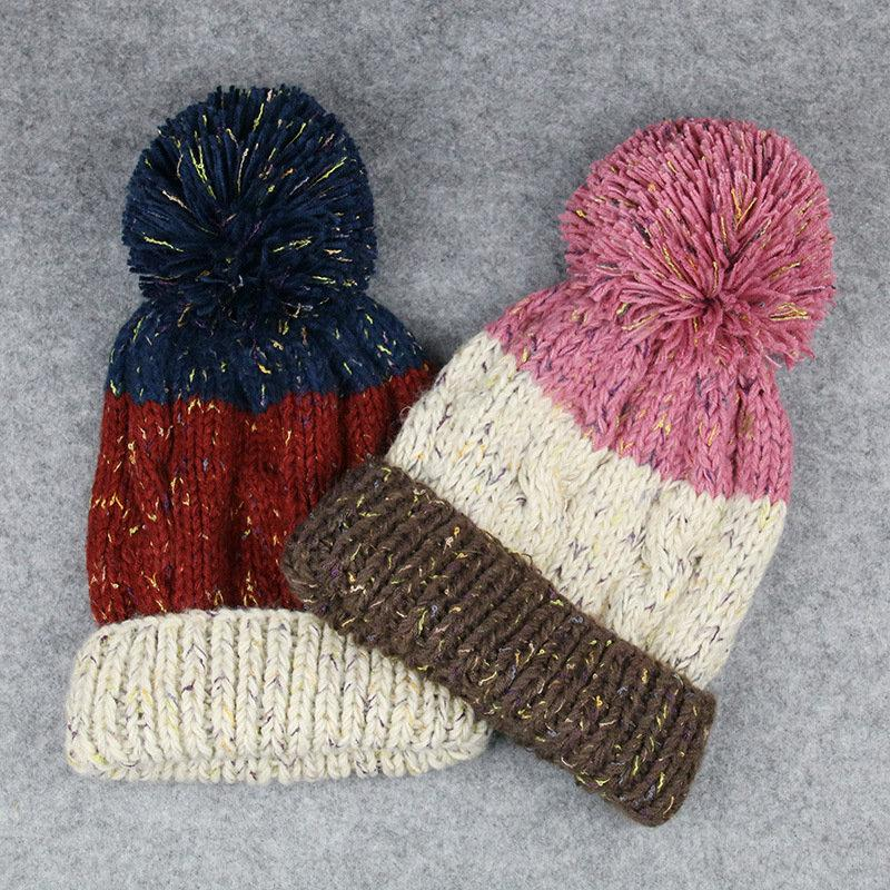 Colorblock Pom Warm Beanie Hats - Hautify