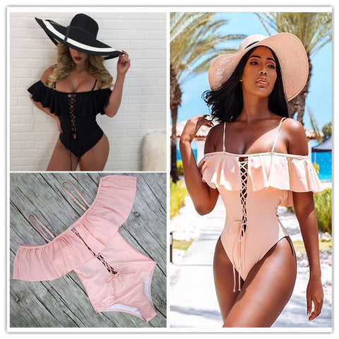 Maillot Femme  Womens Off Shoulder Swimsuit High Leg - Hautify