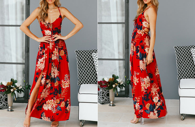 High Slit Floral Print Sexy Maxi  Dress