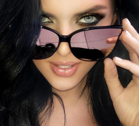 Oversized Cat Eye Mirrored Sunglasses - Hautify