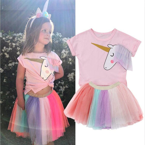 Unicorn Printed T Shirt & Colored Tutu - Toddlers and Girls - Hautify