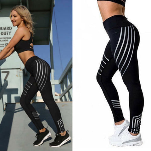 High Waist Breathable Part Striped Leggings - Hautify