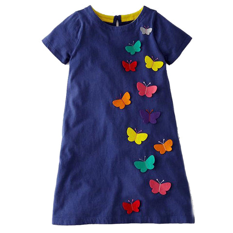 Multicolored Butterfly A - Line Girl's Dress - Hautify