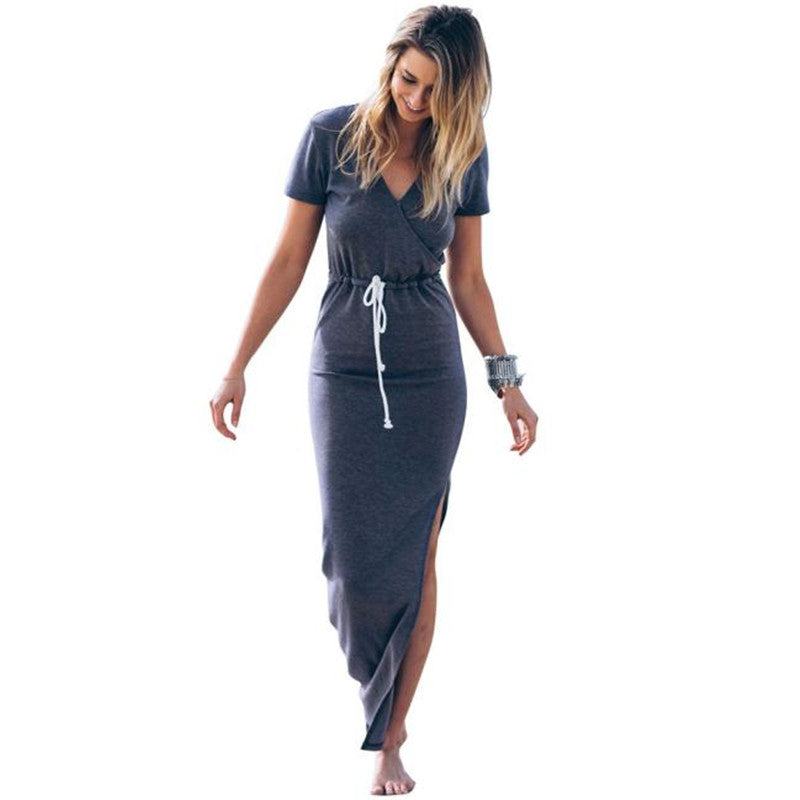 Women's Drawstring Side Slit Pencil Maxi Dress