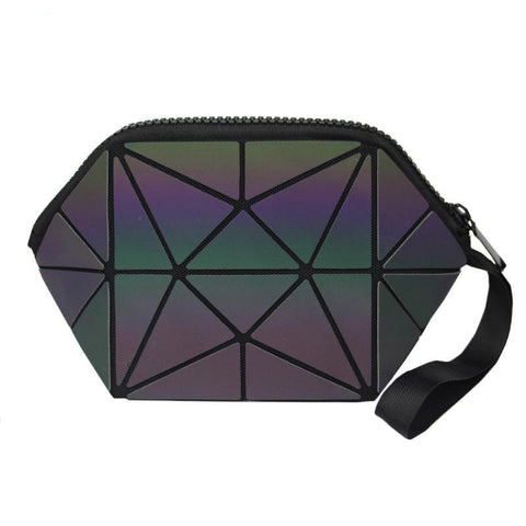Geometric Pattern Zipper Luminous Cosmetic Bag - Hautify