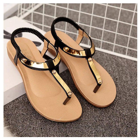 Womens Gold Tone T Strap Sandals - Hautify