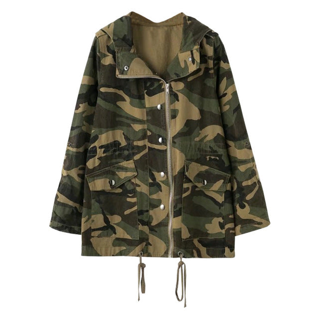 Camouflage  Front Zipper Cold Weather Jacket for Women