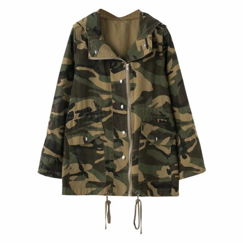 Camouflage  Front Zipper Cold Weather Jacket for Women - Hautify