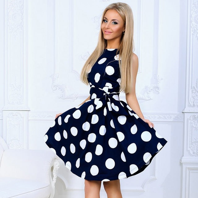 Large Polka Dot Print A Line Summer Sleeveless Dress