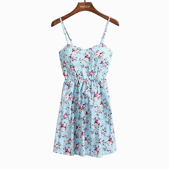 Floral Print Spaghetti Strap Sun Dress for Women