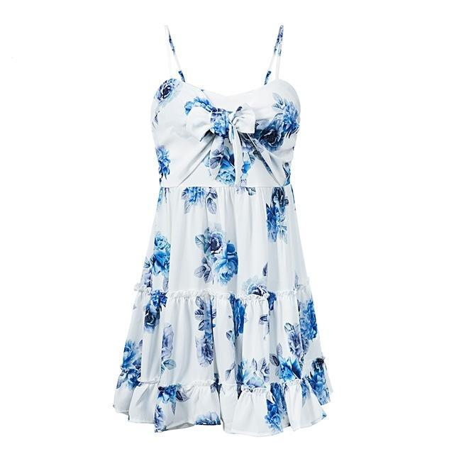 Ruffled Floral Print Tiered Beach Dress for Women