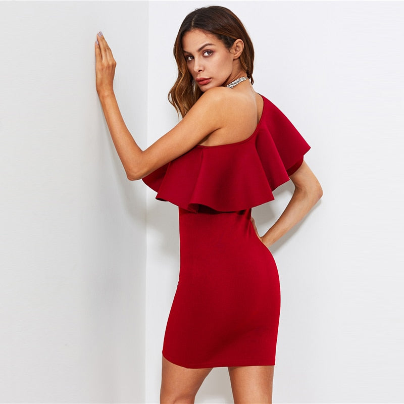 Claire Large Ruffle One Shoulder Bodycon Dress - Hautify
