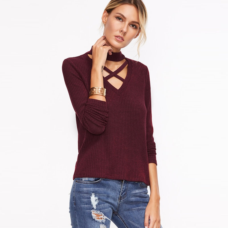 Amber Collar Neck Cross Strap Long Sleeved Sweater - Hautify