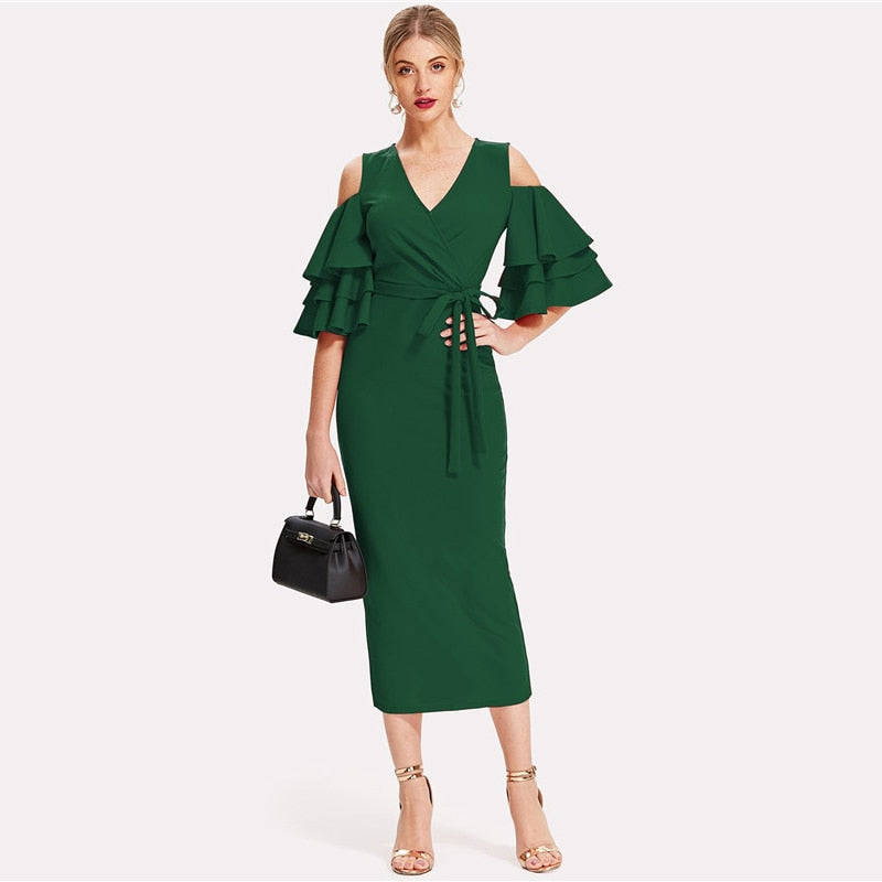 Cold Shoulder Ruffle Sleeve Belted V Neck Bodycon Dress - Hautify
