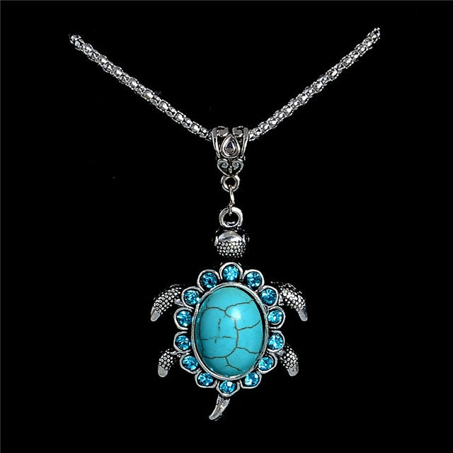 Rhinestone Natural Stone Turtle Tortoise Pendant Necklace